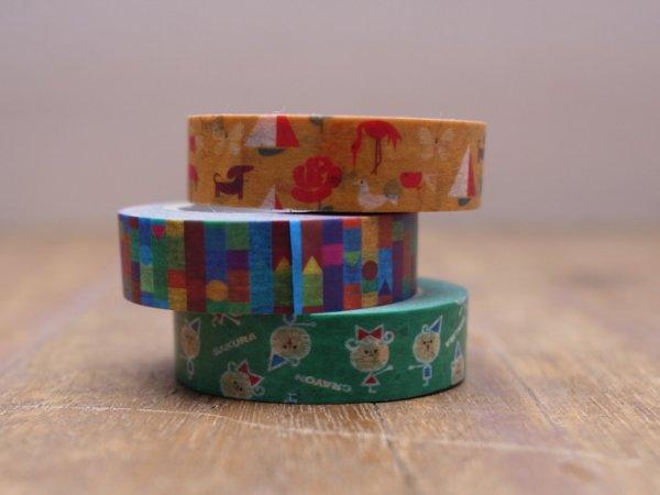 画像1: サクラクレパス柄 マスキングテープ
